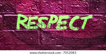 "Abstract graffiti on Bricks With ""respect"" wording - stock photo"