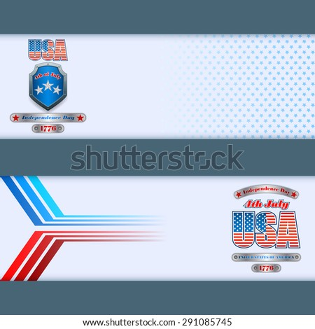 Abstract graphic, design web banner;Header layout template;Set of banners design with metallic shield/silver ribbons and national flag colors background for fourth of July, American Independence Day   - stock photo
