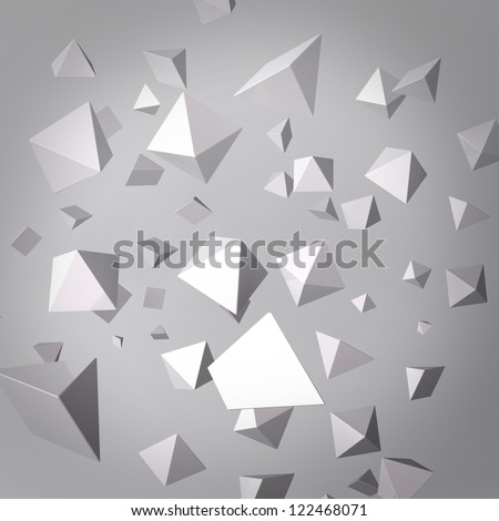 Abstract gray background made of white prisms - stock photo