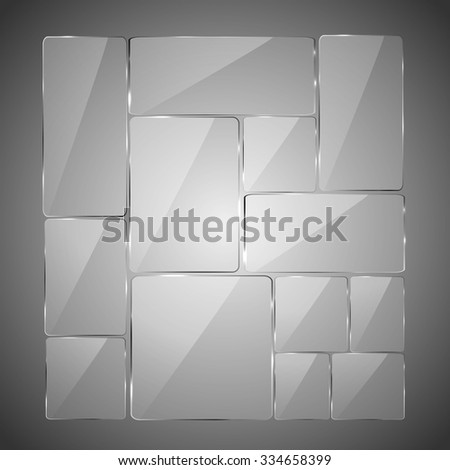 Abstract gray background with glowing glass panels, illustration.  - stock photo