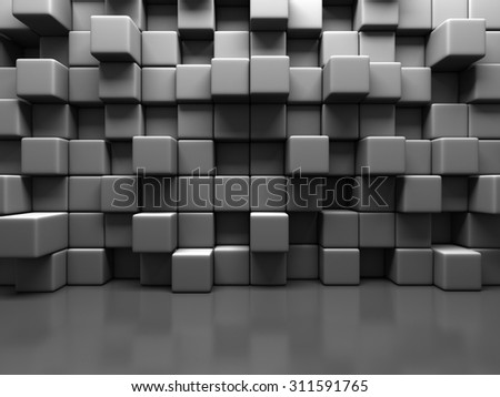 Abstract Gray Cube Blocks Wall Background. 3d Render Illustration - stock photo