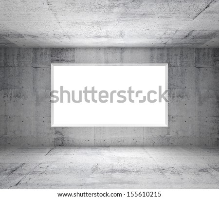 Abstract gray interior of empty room with concrete walls and white window - stock photo