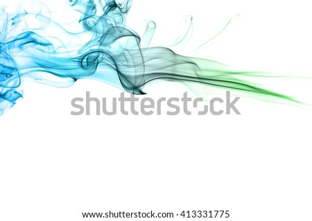 Abstract green and blue smoke on white background, Light blue background,green and blue ink background - stock photo
