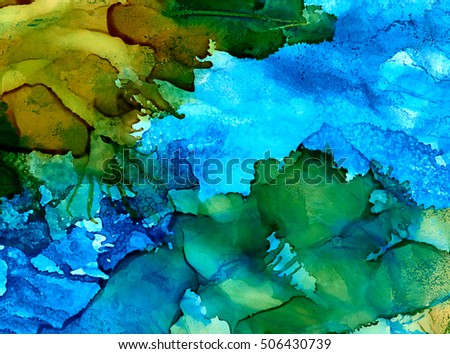 Abstract green and blue with texture and splashes.Colorful background hand drawn with bright inks and watercolor paints. Color splashes and splatters create uneven artistic modern design.