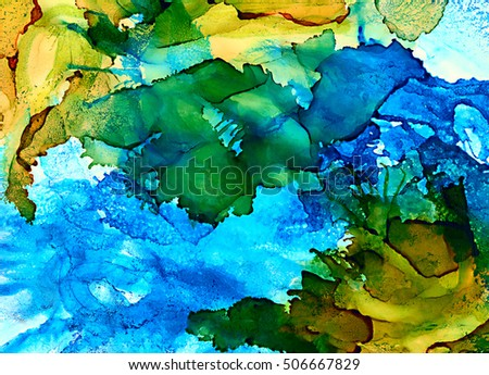 Abstract green and blue with texture.Colorful background hand drawn with bright inks and watercolor paints. Color splashes and splatters create uneven artistic modern design.