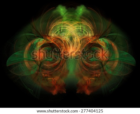 Abstract green and orange background with fractal - stock photo