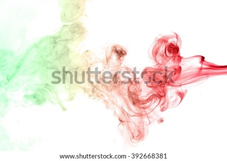 Abstract green and red smoke on white background - stock photo