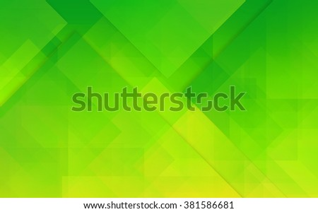 Abstract green and yellow background with smooth polygonal mosaic elements - stock photo