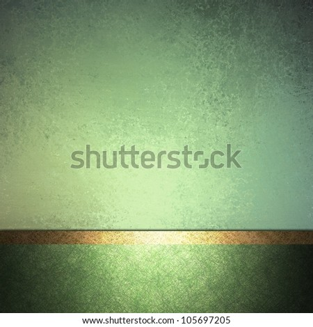 abstract green background design layout with vintage grunge background texture lighting, pale pastel colors on dark green border frame and accent ribbon in gold, elegant formal background book cover - stock photo