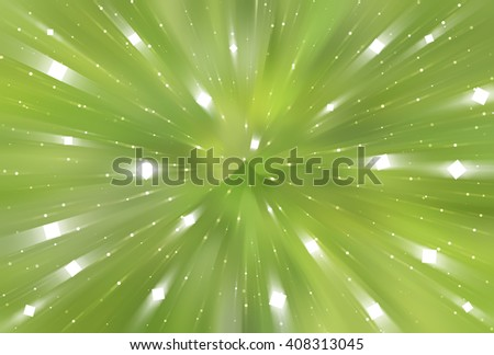 abstract green background. fractal explosion star with gloss and lines - stock photo