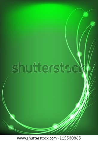 Abstract green background of glowing lines and dots