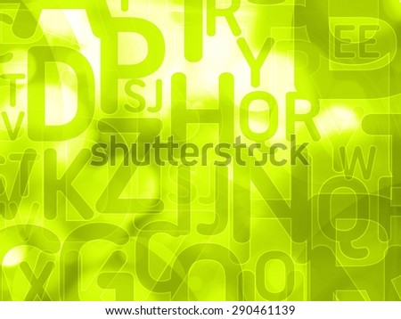 abstract green background texture with random letters - stock photo