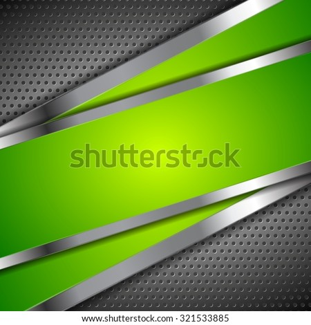 Abstract green background with metallic perforated design - stock photo
