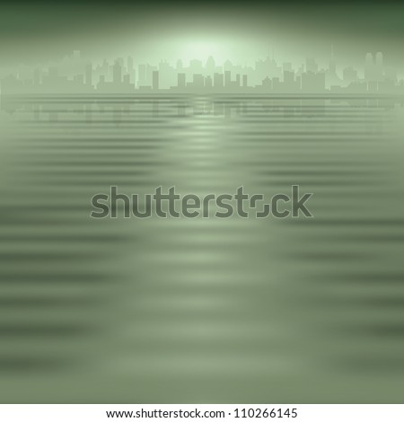 abstract green background with silhouette of city - stock photo