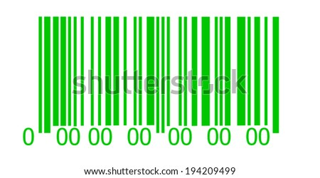 Abstract green barcode security pattern   on white background - stock photo