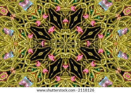 Abstract Green Bead Kaleidoscope Background - stock photo