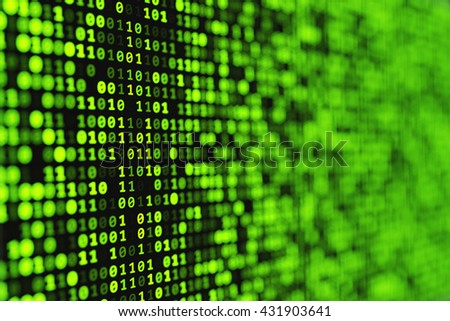 Abstract green binary digital background with bokeh effect. Abstract computer technology graphics. - stock photo