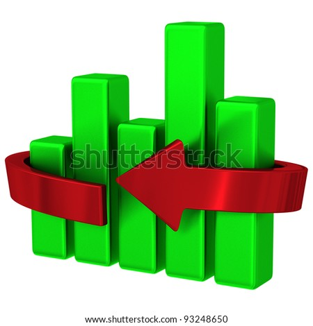 Abstract green business graph with red arrow 3d