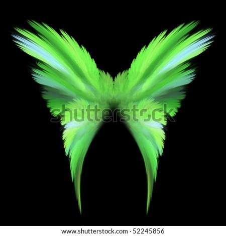 Abstract green butterfly with soft delicate wings - stock photo