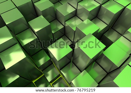 abstract green cubes background