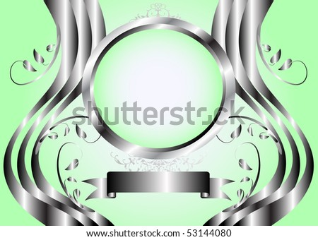 Abstract green floral background with a silver floral frame on a green graduated background with room for text