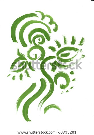 Abstract green floral pattern brush paint. Flowers, lines, dots.