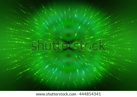 Abstract green fractal composition. Magic explosion star with particles