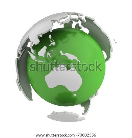 Abstract green globe, Australia part isolated on white background - stock photo