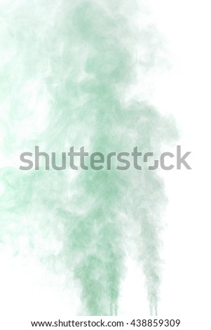Abstract green-gray water vapor on a white background. Texture. Design elements. Abstract art. Steam the humidifier. Macro shot.