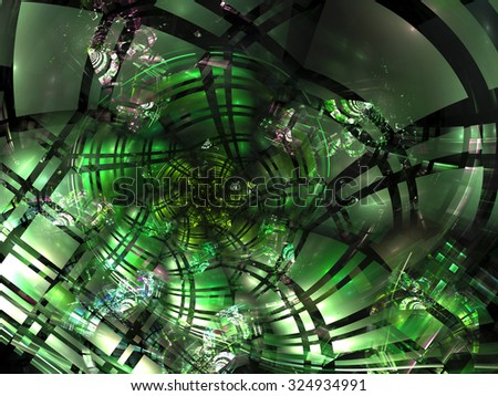 Abstract green image of a spiral cell coverage with red center, light effects and reflections in technology style