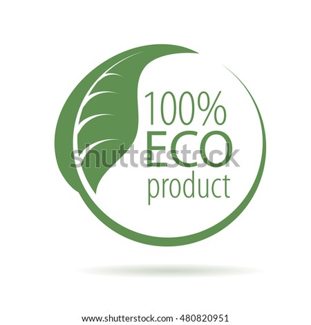 abstract green logo for natural products, vector illustration