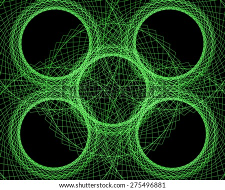 Abstract green network with circles on a black background to be used in the field of technology, computer graphics, web design - stock photo