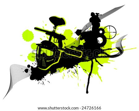 Abstract green paintball art (logo, background, flyer) - stock photo