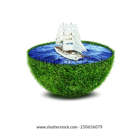 Abstract green planet with ocean and ship - stock photo