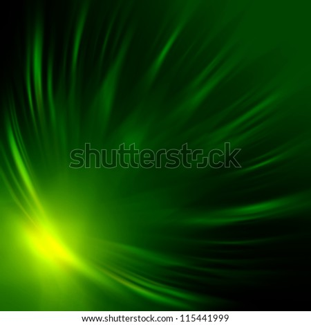 abstract green rays lights over dark background - stock photo