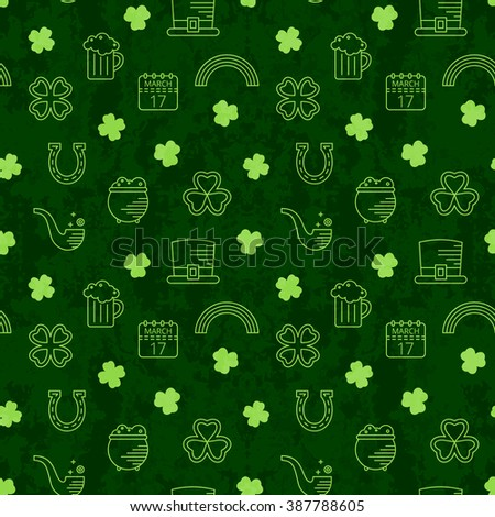 Abstract green seamless line art grunge pattern for St. Patricks day. Design element for banner, card, invitation, postcard, textile, fabric, wrapping paper. Raster copy of vector file. - stock photo