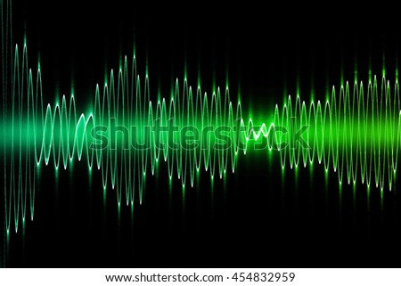 Abstract green sound equalizer wave on black background.