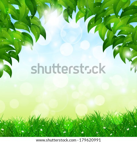 abstract green spring nature background with leaves and blurry lights