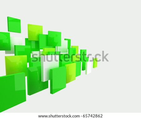 abstract green squares forming the flow - stock photo