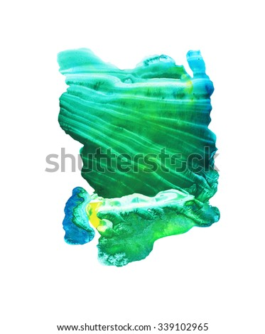 Abstract green watercolor background. Ink illustration. Hand painted colorful backdrop. Isolated on white background.