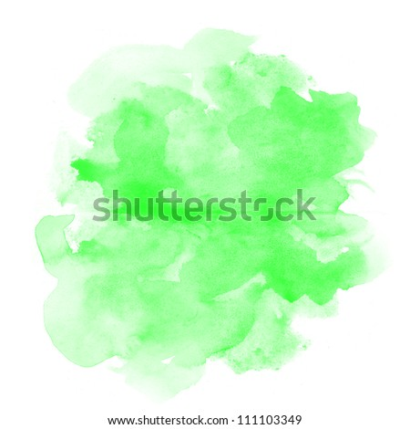 abstract green watercolor on white background - stock photo