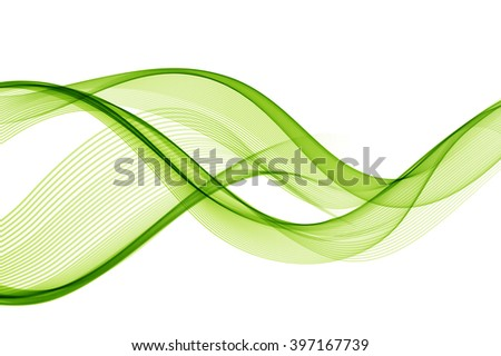 Abstract green wavy lines. Colorful background. - stock photo