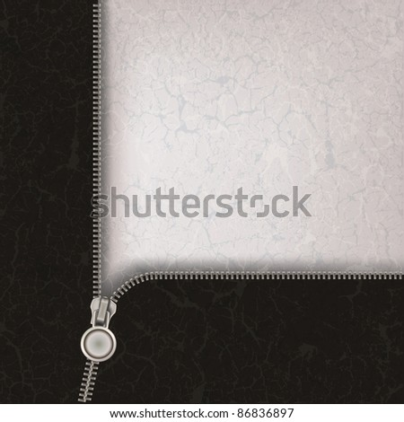 abstract grey background with metallic open zipper