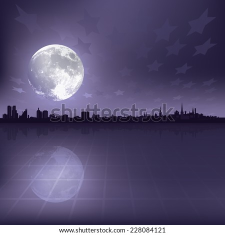 abstract grey background with silhouette of city and moon - stock photo
