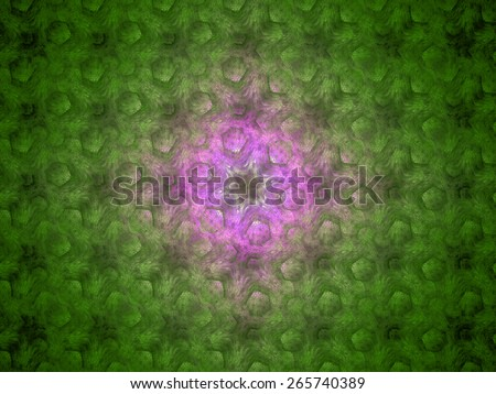 Abstract grid background with a detailed hexagonal pattern fit into columns and rows, all in high resolution and shining green and pink