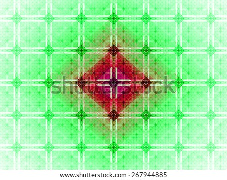 Abstract grid background with a detailed large square pattern made out of small squares and connected with rings and fit into columns and rows, all in light pastel green,yellow,red - stock photo