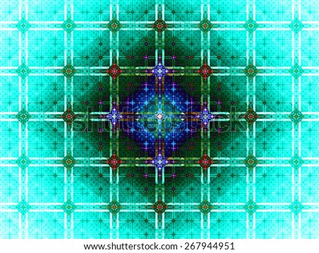 Abstract grid background with a detailed large square pattern made out of small squares and connected with rings and fit into columns and rows, all in dark vivid glowing cyan,green,blue,red - stock photo
