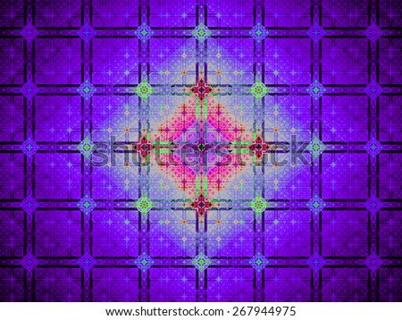 Abstract grid background with a detailed large square pattern made out of small squares and connected with rings and fit into columns and rows, all in bright vivid shining pink,red,blue,green - stock photo