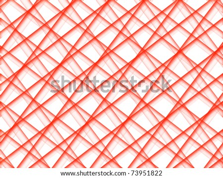 Abstract grid of red grainy intersecting tubes on white background - stock photo