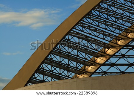 Abstract grid structure on a building.